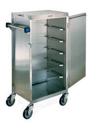 "Tray Delivery Cart, (6) tray capacity, 6"" ledge spacing, maximum tray size 16"" x 22"", minimum tray size 14"" x 18"", stainless steel exterior, removable door, 5"" swivel polyurethane wheels, NSF"