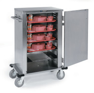 "Elite Series™ Tray Delivery Cart, (6) tray capacity, ledge spacing 6"", max. tray size 15"" x 20"", min. tray size 14"" x 18"", stainless steel exterior, welded 1"" tubular push handle, removable door, 6"" casters (2) fixed & (2) swivel NSF"