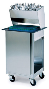 "Tray Dispenser, cabinet style with overhead flatware dispenser rack, open base, mobile, single self-leveling tray platform, for 14' x 18"" or 15"" x 20"" trays, stainless steel construction, 4"" swivel casters (2) with brakes, NSF (flatware cylinders not included)"