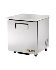 """Undercounter Refrigerator, 33-38° F, (2) shelves, stainless steel top & sides, white aluminum interior with stainless steel floor, (1) stainless steel door, 3"""" castors, front breathing, 1/6 HP, 115v/60/1, 3.9 amps, 7' cord, NEMA 5-15P, 34"""" working height, cULus, NSF, CE, MADE IN USA"""