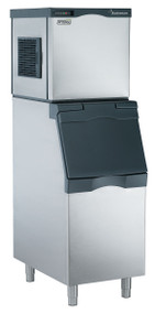 "Scotsman Prodigy modular cube ice maker. 300 lb. ice/per 24 hours. 22""w.x 24""d x 23""h. Shown with optional bin."