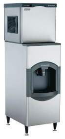 "Scotsman Prodigy Modular Cube Ice maker, 475 lb ice per 24 hour. 22""w x 24""d x 23""h. Air cooled. Medium cube. Shown with optional bin."