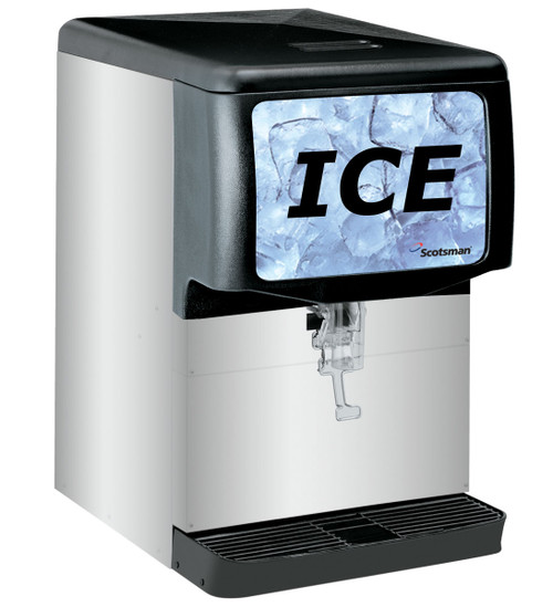 Ice Dispenser, counter model, 150-lb capacity, designed for cube-type ice, stainless steel exterior, cup activated, 115v/60/1-ph, Also dispenses nugget ice. Heavy-duty agitator reduces ice jams and bridging. Push bar activation.