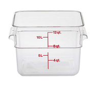 "CamSquare® Food Container, 12 qt., 11-1/4""L x 12-1/4""W x 8-5/16""H, with handles, red graduation, polycarbonate, dishwasher safe, resists stains & odors, clear, NSF"