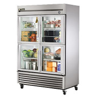 "Refrigerator, Reach-in, two-section, (4) glass half doors, stainless steel front, aluminum sides, aluminum interior with stainless steel floor, (6) adjustable PVC-coated wire shelves, fluorescent interior lighting, 4"" castors, 1/3 HP, 115v/60/1, 5.8 amps, 9' cord, NEMA 5-15P, cULus, NSF, CE, MADE IN USA"