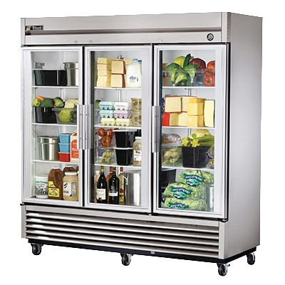 "Refrigerator, Reach-in, three-section, glass doors, stainless steel front, aluminum sides, clear coated aluminum interior with stainless steel floor, (9) adjustable PVC-coated wire shelves, LED interior lighting, 4"" castors, 1/2 HP, 115v/60/1, 9.6 amps, 9' cord, NEMA 5-15P, cULus, NSF, CE, MADE IN USA"