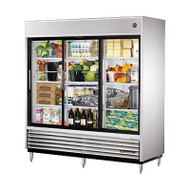 "Refrigerator, Reach-in, (3) glass sliding doors, stainless steel front, aluminum sides, white aluminum interior with stainless steel floor, (9) white shelves, LED interior lighting, 6"" legs, 1/2 HP, 115/60/1, 12.0 amps, NEMA 5-15P, cULus, UL EPH Classified, CE, MADE IN USA. CALL FOR YOUR PRICE."