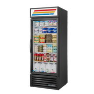 Call for pricing. Refrigerated Merchandiser, one-section, True standard look version 01, (4) shelves, powder coated exterior, white interior with stainless steel floor, (1) Low-E thermal glass hinged door, LED interior lights, R290 Hydrocarbon refrigerant, 1/3 HP, 115v/60/1, 5.4 amps, NEMA 5-15P, UL EPH Classified, cULus, MADE IN USA, ENERGY STAR®