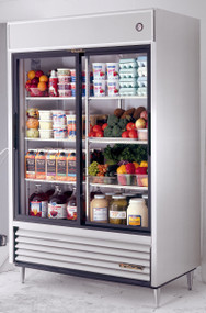 """Refrigerator, Reach-in, (2) glass sliding doors, stainless steel front, aluminum sides, white aluminum interior with stainless steel floor, (6) white shelves, LED interior lighting, 6"""" legs, R290 Hydrocarbon refrigerant, 1/2 HP, 115v/60/1, 8.5 amps, NEMA 5-15P, cULus, UL EPH Classified, CE, MADE IN USA"""