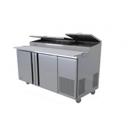 "Refrigerated Pizza Prep Table, 67-1/4"" wide, 18.6 cu.ft., two-section, (2) self closing door with 120° stay open feature, (9) 1/3 size top pan capacity, (4) shelves, stainless steel insulated lid, 19"" removable & reversible white polyethylene cutting board, self-contained refrigeration, 5"" castors front 2 with brakes, stainless steel interior & exterior, 1/3 hp, cETL, UL, NSF 7, Made in North America"