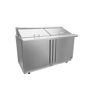 "Mega Top Sandwich/Salad Refrigerator, 60"" wide, (2) doors, (2) adjustable shelves, includes (24) standard full set of 1/6 size pans (4"" deep), stainless steel insulated lid and hood, front breathing self-contained refrigeration, 10"" removable/reversible white poly cutting board, 4"" castors; 2 with brakes, stainless steel exterior and interior finish, 1/4 hp, cETLus, conforms to Ul & NSF-7 standards, Made in North America"