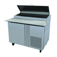 "Refrigerated Pizza Prep Table, 46"" wide, 9.9 cu.ft., one-section, (1) self closing door with 120° stay open feature, (6) 1/3 size top pan capacity, (2) shelves, stainless steel insulated lid, 19"" removable & reversible white polyethylene cutting board, self-contained refrigeration, 5"" castors front 2 with brakes, stainless steel interior & exterior, 1/4 hp, cETL, UL, NSF 7, Made in North America"