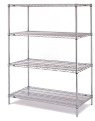 "Super Erecta® Convenience Pak Shelving Unit, 48""W x 18""D x 74""H, (4) wire shelves with clips & (4) split posts with adjustable feet, chrome plated finish, KD, NSF"