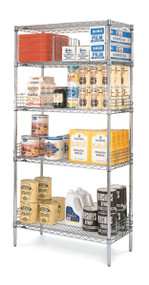 "Super Erecta® Convenience Pak Shelving Unit, 60""W x 18""D x 74""H, (4) wire shelves with clips & (4) split posts with adjustable feet, Super Erecta Brite™ finish, KD, NSF"