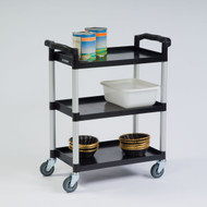 "Bus Cart, 3-shelf, 31-3/4""W x 17-1/2""D x 38""H, (3) stain & odor resistant polyethylene shelves, shelf size 25-1/2""W x 16""D, epoxy coated steel legs, 300 lb. capacity, 11-3/4"" shelf clearance, dent resistant, push handle on each short side, 1"" lip on all sides, 4"" non-marking swivel casters, black (ships KD, no tools required for assembly)"