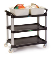 """Utility Cart, medium duty, (3) 16-3/4"""" x 29-1/2"""" shelves, 500 lb. capacity, 11"""" shelf clearance, dent resistant, cushion grip push handle on each short side, 1"""" lip on all sides, stain & odor resistant polyethylene, brushed aluminum legs, No-Mark® 4"""" polyurethane swivel casters, charcoal (ships KD, no tools required for assembly)"""