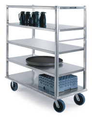 """Extreme Duty Queen Mary Banquet Cart, (5) shelf, shelf size 27""""x 64"""", all edges down, 12"""" clearance between shelves, aluminum, 8"""" casters (2) fixed & (2) swivel, 2500 lb. capacity, NSF"""