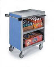 """Serv'n Express™ Kiosk, mobile, 77-1/4""""W x 28-1/4""""D x 52-1/2""""H, (3) full size pan inserts (full size pans not included), (1) slide-out laminate shelf in middle compartment, (3) interior stainless steel compartments, heavy-duty tubular push handles, stainless steel with laminate finish, 8"""" casters ( (2) swivel with brakes, (2) swivel with lock)"""