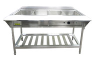 "Water Bath Steam Table, 57-1/4""W x 26""D x 34-1/4""H, 4-compartment, 12"" x 20"" x  8-1/2"" deep wells, thermostatic control dial, low water cutoff sensor with reset button, 304 stainless steel fully welded water pan, single heating element, 3/4"" drainage pipe, adjustable legs with bullet ends, undershelf, stainless steel, KD,  208v/240v/60/1-ph, 3000 watt, 12.5 amp, NEMA 6-20P, CE"