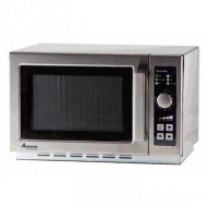 "Amana® Commercial Microwave Oven, 1000 watts, 1.2 cu. ft. capacity, medium volume, 10-min. dial timer, (4) power levels, non-removable air filter, side hinged door with tempered glass, accommodates 14"" plate, stainless steel exterior & interior, limited 3-yr warranty, 120v/60/1-ph, 1550 total watts, 13 amps, cord, NEMA 5-15P, cETLus"