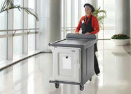 "Meal Delivery Cart, low profile, (1) door, 1-compartment, holds (10) 15"" x 20"" trays, 29-1/2"" x 38-1/2""D x 42-1/2""H, molded-in handle on the back, with louvered vent, 6"" heavy duty casters (2 fixed, 2 swivel with brake, offset), granite sand with cream color door, NSF. DIETARY EQUIPMENT COMPANY 1-800-755-4777 Granite Gray Pictured"