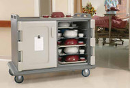 "Meal Delivery Cart, 55-1/8""L x 38""W x 44-1/4""H, low profile, single stack rail system, double compartment with self-draining bottom, holds (20) 15"" x 20"" (38.1 x 50.8 cm ) trays, 5-1/2"" (14 cm) clearance between rails, (2) lightweight non-rusting back aluminum louvered vents, nylon friction latches, non-insulated self venting doors, molded handles on both ends, (4) 6"" (15.24 cm) non-marking slightly off-set casters (2 swivel with brakes & 2 rigid), thick foam polyurethane insulation, molded bottom bumpers, polyethylene, granite green, NSF (no assembly required)"