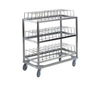 "Dome Drying Rack, (3) shelf, 60 dome capacity, stainless steel frame with chrome plated wire dome cradles, 5"" swivel casters, NSF"