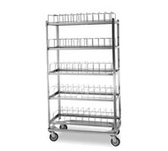 "Dome Drying Rack, (5) shelf, 100 dome capacity, stainless steel, 5"" swivel casters, NSF"
