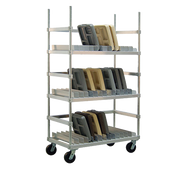 "Tray Drying Rack, heavy duty, adjustable, (54) tray capacity, 3"" spacing, U-brace for each shelf, aluminum construction, shelf dividers constructed of .080 sheet to prevent altering, 6"" heavy duty casters with tamper-resistant screws, KD (correctional specification)"