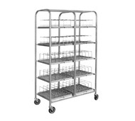 "Dome Storage Cart; with wash racks; for 7"" dome covers; 120 dome capacity; 1"" square stainless steel tubing frame construction; welded tray slides; 5"" casters (IRDSD7/120)"