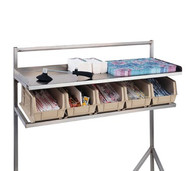 "Starter Station; 1"" square 16-gauge stainless steel frame; 18-gauge top shelf; bottom shelf supports 7 plastic bins; 60"" long (shipped std with each unit); 4"" swivel casters (2 with locking brakes); straddle style (ISSS60)"