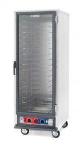 "C5™ 1 Series Heated Holding Cabinet, mobile, full height, non-insulated, clear polycarbonate door, removable bottom mount control module, thermostat to 190ºF, universal wire slides on 3"" centers, adjustable on 1-1/2"" increments (18) 18"" x 26"" or (34) 12"" x 20"" x 2-1/2"" pan capacity, 5"" casters (two with brakes), aluminum, 120v/60/1-ph, 2000 watts, 16.7 amps, NEMA 5-20P, UL, CUL, NSF"