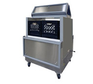 """Milk Cooler, open front, dual access, 34-5/8"""" long, 12.2 cubic feet capacity, (2) epoxy coated heavy-duty floor racks, NSF listed floor drain and thermometer, fold back locking doors, white exterior, galvanized interior including door interior, (4) swivel casters, (2) locking, cold wall self-contained refrigeration, 1/5 hp, 115v/60/1-ph 3.3 amps"""