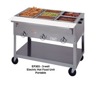 "EP303Aerohot Steamtable Portable Hot Food Unit, 44-3/8""L, electric, (3) 12"" x 20"" hot food wells with exposed elements, infinite controls, stainless steel top with 1/2"" thick x 7"" wide poly carving board, stainless steel open base with undershelf, 5"" casters"