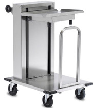 """Mobile Tray Dispenser, maximum. tray size 16"""" x 22"""", 150 capacity, solid shelf, open tubular frame, cantilever single self-leveling tray platform, removable carrier, adjustable lifting rate, (4) 5""""HD non- marking swivel casters (2 with brakes) & bumpers, stainless steel construction& push handle, NSF (IDT1C/1622)"""