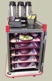 """(SIMILAR MODEL PSDTT10 PICTURED) DIETARY EQUIPMENT COMPANY 1-800-755-4777 Performance Patient tray cart; stainless steel, single door, wrap-around bumper, floor drain with plug and leash, 3-sided top rail, two trays per slide; ultra-quiet construction; adjustable tray slides accept 12""""x19"""", 12""""x20"""", 13""""x21"""", 14""""x18"""", 15""""x20"""", 16""""x22"""" and RS1089 Trays; capacity 16 trays"""