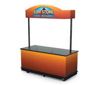 "6' Merchandising Cart, all aluminum composite material construction, standard black or silver (specify), matching toe kick, indoor base with heavy-duty casters, open storage (server side), polyform countertop, 1"" bumpers all sides (color to match base)"
