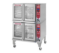 "HydroVection™ Oven, Gas, full size, double stacked, capacity (10) 18"" x 26"" pans, glass doors, (10) stainless steel racks and (20) rack positions, cavity vent, manual controls, four speed auto-reversing fan motor, core probe, stainless steel construction, 8-1/2"" stainless steel legs with casters and stacking kit, 60,000 BTU, ETL, NSF"