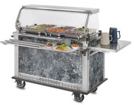 Shown with optional 3 bar tray slide and drop down end shelf.