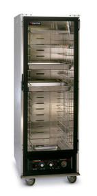 "Proofer/Hot Cabinet, non-insulated, deluxe, removable bottom heater, capacity (18) 18"" x 26"" sheet pans or (36) 12"" x 20"" pan slides on 3"" centers, field reversible Lexan door, integral drip trough, (4) 5"" swivel casters (2) braked, Hi-Tensile aluminum construction, CSA, NSF"