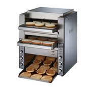 "Double Conveyor Toaster, high volume, electric, 2-1/4"" product opening (top), 1-3/4"" (bottom), (2) 14""W belts (3 slices), quartz sheathed heaters, separate controls for top/bottom, 1000 slices/bun halves per hour, stainless steel construction, CE, cULus, UL, NSF"