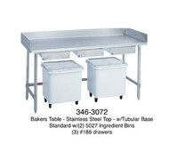 "Bakers Table, stainless steel top, 30"" wide top, with splash at rear & both sides, 60"" long, open base, with (2) ingredient bins, (2) drawers, centered, stainless legs & cross braces"