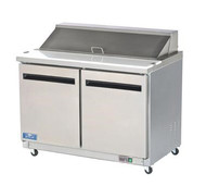 """Sandwich/Salad Prep Table, (12) 1/6 size pans (included), 12 cubic feet, electronic thermostat, digital temperature display, (2) self-closing door, stainless steel top/front/sides, 11.5""""D cutting board, white ABS interior with stainless steel floor, (2) shelves, 3"""" castors, 1/2 hp, 7.0 amps, 115v/60/1-ph, 8' cord, NEMA 5-15P, NSF 7"""