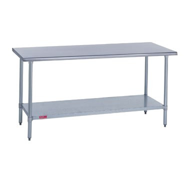 "Work Table, stainless steel top & riser, 30"" wide top, 10""H riser with marine edge, 24"" long, with stainless steel undershelf & posts, 36"" high, 14/300 stainless steel"