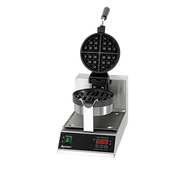 """Belgian Waffle Maker, 14"""" H, 10"""" W x 18-1/4"""" D, 7"""" round grids, 1-1/4"""" thick waffles, cook 20 waffles per hour, stainless steel body, aluminum non-stick coated grids, temperature range 250° to 425° F, 180° rotating hinge, digital timer with buzzer, lighted on/off switch, includes: removable stainless steel drip pan, 5"""" power cord, 1080 watts, 120v, 9 amps, NEMA 5-15P, CE"""