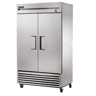 "Refrigerator, Reach-in, two-section, stainless steel doors, stainless steel front, aluminum sides, aluminum interior with stainless steel floor, (6) adjustable PVC-coated wire shelves, interior lighting, 4"" castors, 1/3 HP, 115v/60/1, 5.8 amps, 9' cord, NEMA 5-15P, cULus, NSF, ENERGY STAR®, MADE IN USA"
