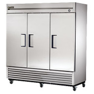 "Refrigerator, Reach-in, three-section, stainless steel doors, stainless steel front, aluminum sides, aluminum interior with stainless steel floor, (9) adjustable PVC-coated wire shelves, interior lighting, 4"" castors, 1/2 HP, 115v/60/1, 9.6 amps, 9' cord, NEMA 5-15P, cULus, NSF, CE, MADE IN USA"