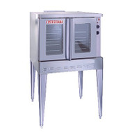 """Convection Oven, Electric, single deck, full size capacity (5) 18"""" x 26"""" pans, double glass doors, (5) stainless steel racks and (11) rack positions, chrome plated door handle, manual controls, cooling fan, stainless steel construction, 25"""" adjustable stainless steel legs, 11.0 kW, 1/2 hp blower, cETL, NSF, ENERGY STAR"""