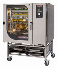 "Combi Oven Steamer, electric, boilerless, (8) 18"" x 26"" full size sheet pan or (16) 12"" x 20"" full size hotel pan capacity per compartment, digital dial controls, reversible 9-speed fan, core temperature meat probe, glass door, hose reel, CombiWash, includes (5) wire shelves per section, 31-1/2"" tall stand with runners & adjustable feet, stainless steel exterior & interior, cETLus, ETL-Sanitation, CE"