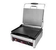"Panini/Sandwich Grill, heavy duty cast steel single plus grill, 14-1/8"" x 11"" smooth cooking surface, stainless steel finish, 120v/60/1-ph, 1.8 kw, NEMA 5-15P, cETLus, ETL (Cecilware)"